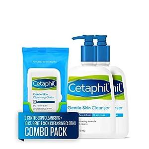 Cetaphil Gentle Skin Cleanser for All Skin Types, Two 16 Fl Oz Bottles, plus 10 Count Cetaphil Gentle Skin Cleansing…