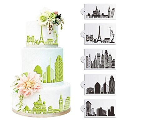 5Pcs/Set Plastic Civic Architecture Stencils Fondant Cake Mold Cookie Baking Mould Decorating Tool by advanced by Advanced