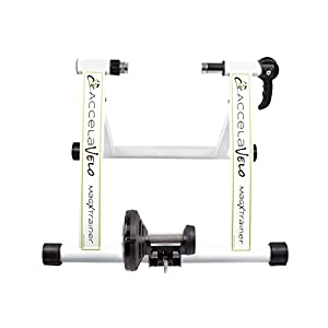 AccelaVelo Mag X Indoor Magnetic Bike Trainer Constant Magnetic Resistance Quick Release Wheel Lock Complete 2 Year Warranty