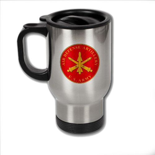 Stainless Steel Coffee Mug with U.S. Army Air Defense Artillery branch plaque
