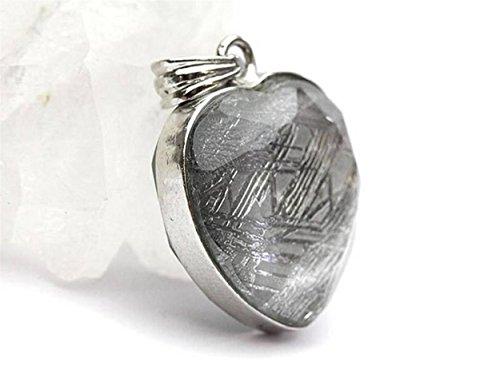 Genuine Natural Gibeon Iron Meteorite Love Heart Shape Silver Woman Mens Necklace Pendant by LiZiFang (Image #1)