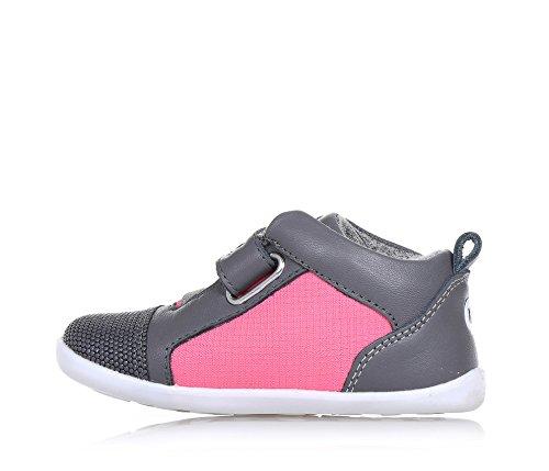 BOBUX - Pink und grauer Schuh aus Leder und Stoff, äußerst flexibel, erlaubt ein unbeschränktes Wachstum, mit ungiftigen Färbemitteln und Materialien hergestellt, Mädchen