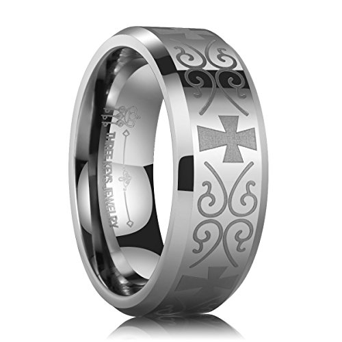 Three Keys Jewelry 8mm Tungsten Carbide Wedding Rings Laser Medival Celtic Cross Knot Wedding Band Engagement Ring Plat Beveled Edge Silver Size 9 - Celtic Cross Ring Mens