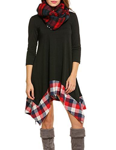 ACEVOG-Womens-Long-Sleeve-Loose-Plaids-Irregular-Hem-Casual-Tunic-Shirt-Dress