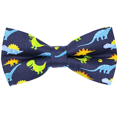 OCIA Cotton Cute Pattern Pre-tied Bow Tie Adjustable Bowties for Mens & Boys Cute Dinosaur