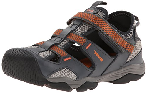 Teva Jansen Leather Kids Sport Shoe (Toddler/Little Kid/Big Kid), Dark Grey/Orange , 11 M US Little Kid