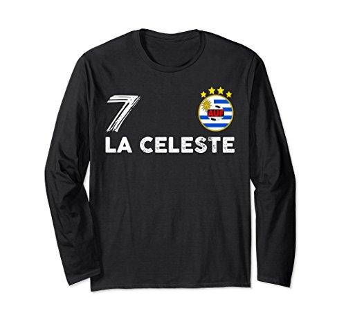 Unisex Uruguay Soccer Shirt Russia 2018 Football Fan #7 La Celeste Small Black Team Flag Football Jersey