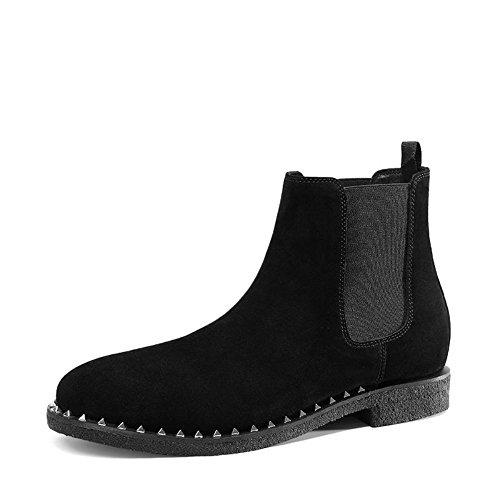 Jinfu Chelsea Boots Mens Rivet Nero Suede Casual Dress Boots Stivaletti Scarpe Formali (us 7.5)