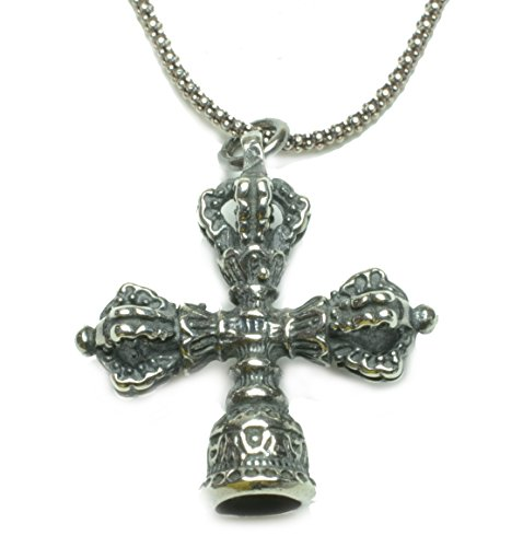 Auspicious Tibetan Dorje Sterling Silver Amulet necklace - Fortune Feng shui Jade Jewelry
