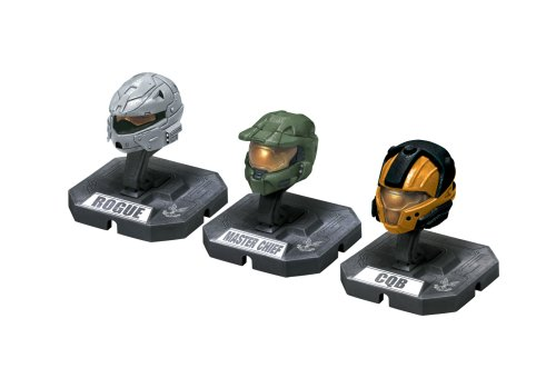 HALO Helmet 3PKs Series 1 - Set 3: Master Chief (Green), Rogue (Silver), CQB (Orange) (Halo 3 Master Chief 12 Inch Action Figure)