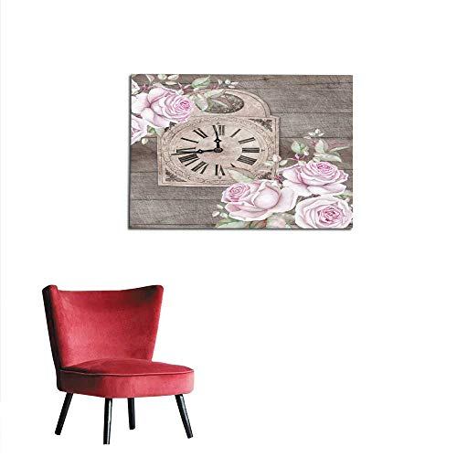 Wall Picture Decoration Old-Fashioned Clock with English Roses on Wooden Background Watercolors Mural -