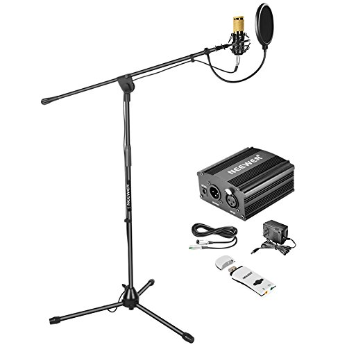 - Neewer Condenser Microphone Kit: NW-800 Microphone (Gold),Microphone Floor Stand with Boom,48V Phantom Power Supply,Shock Mount, Pop Filter and USB Sound Card Adapter for Studio Voice Recording