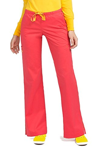(Med Couture Women's Gigi 8724 Elastic/Drawsting Cargo Scrub Pant- Tangerine/Honey- X-Large)