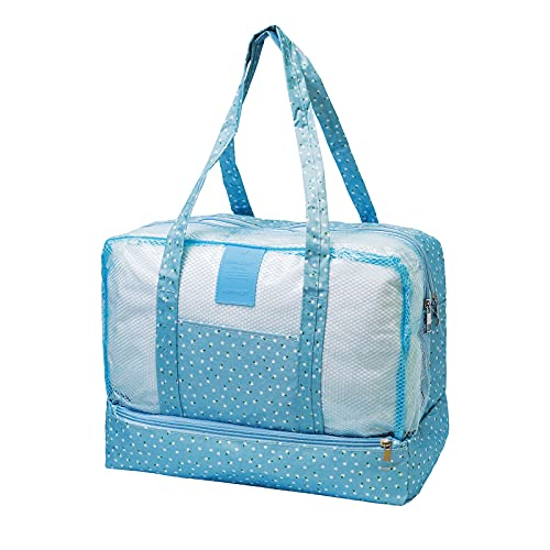 Mesh Beach Bag Print Women Separation Of Dry Wet ,Lightweight & Foldable Mesh Tote Bag for Beach Picnic Pool Trave Gym