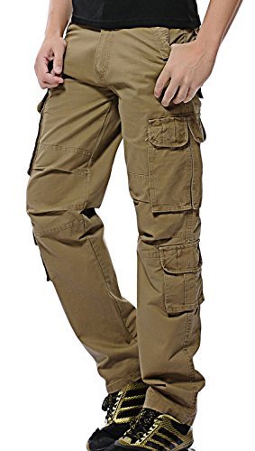 AOYOG Mens Cargo Combat Work Trousers Multi-Pocket Loose Fit Pants Cotton