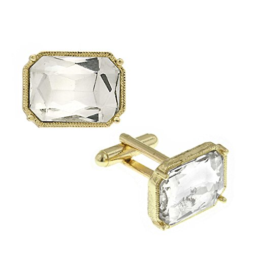 14K Gold Dipped Rectangle Crystal Cuff Links
