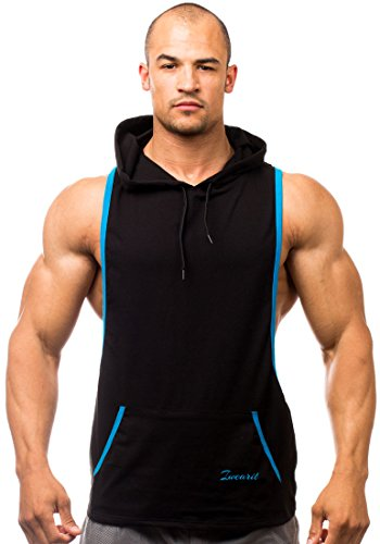 Iwearit Hoody(Blk/Aqua-M) - Cotton(95%) Lycra(5%) Stringer Tank Top Savage Hoodie with Accent Trim