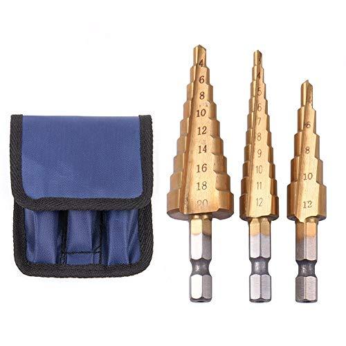 - 1 piece 3Pcs Hss Steel Titanium Step Drill Bits 3-12/4-12/4-20mm Step Cone Cutting Tools Steel Woodworking Wood Metal Drilling Set