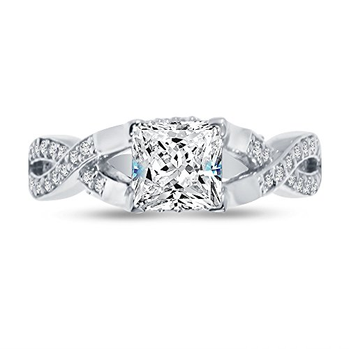 Size - 6 - 925 Sterling Silver Princess Cut Infinity Twist Solitaire Engagement Ring CZ Cubic Zirconia (1.50cttw., 1.0ct. Center) (Cut Accent Princess)