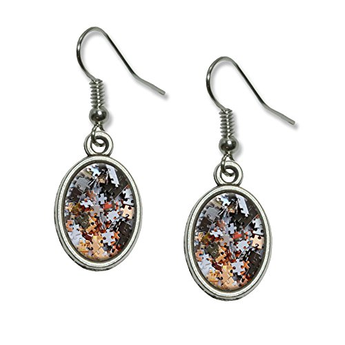 Jigsaw Puzzle Pieces - Jig Saw Game Hobby Novelty Dangling Drop Oval Charm Earrings (Jig Saw Costume)