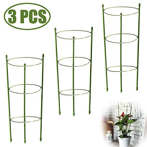 TIHOOD 3PACK Plant Support Cages Plant Cages with 4 Adjustable Rings, Pack of 3
