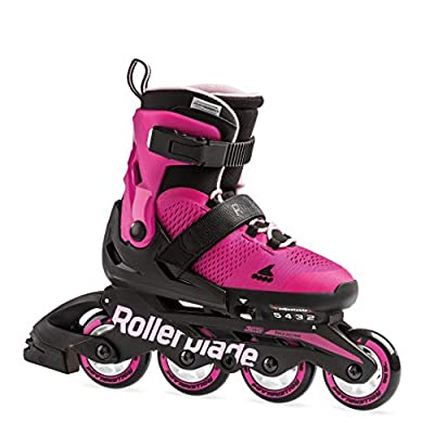 Rollerblade Microblade Girl's Adjustable Fitness Inline Skate, Pink and Bubble Gum, Junior, Youth Performance Inline Skates, Youth, Junior 2 to 5 : Sports & Outdoors