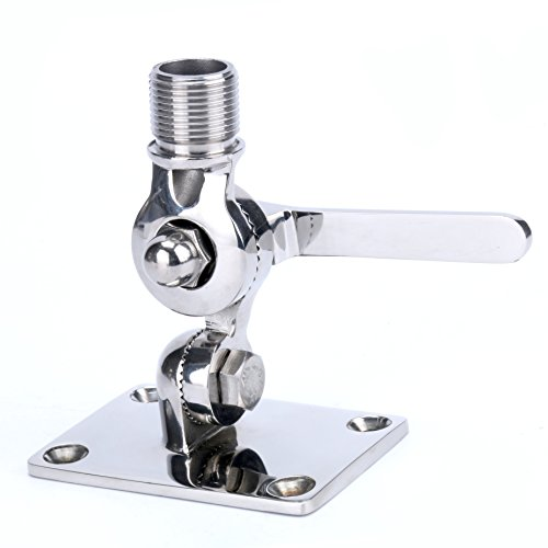 Amarine-made Marine VHF Antenna Adjustable Base Mount for Boats -Stainless Steel (1/4 Inch Fh Fasteners)