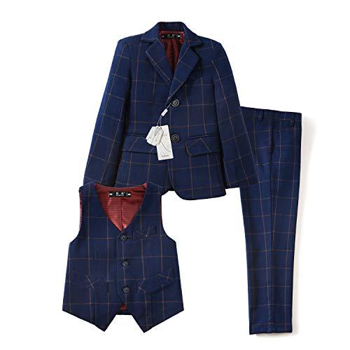 Yuanlu Kids Formal Tuxedo Suits Boys Blazer Vest and Pants Set Plaid Navy Size 4T