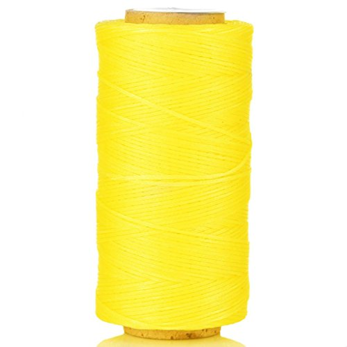 (Selric [24 Colors Available] 150D 0.8mm 284Yards Flat Waxed Thread Hand Stitching Cord Leather Craft Tool Leather Stitching Sewing (Yellow))