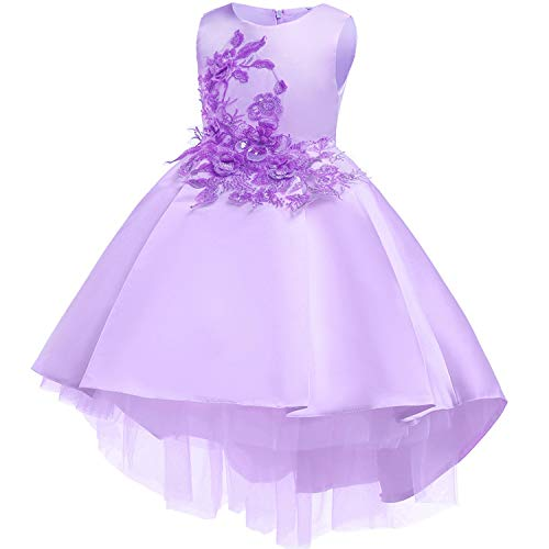 Baby Girls Infant Embroidery Dress Kids Gold Wedding Toddler High-End Dress Flower Tutu Formal Party Dress Girls,D0582-Purple,8 -