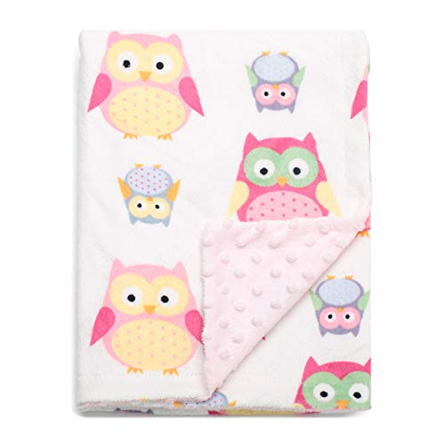(Boritar Baby Blanket Soft Minky with Double Layer Dotted Backing, Lovely Pink Owls Printed 30 x 40 Inch, Receiving Blankets )