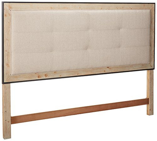 Emerald Home Synchrony Washed Tan Bed with Upholstered Headboard & Footboard Panels And Metal Trim, ()