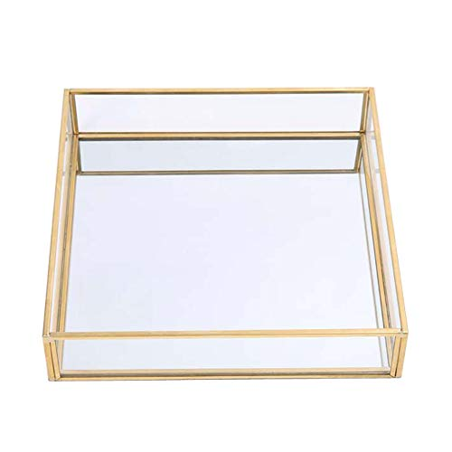 Sooyee Gold Tray Mirror,Square Mirror Tray can Hold Jewelry,Perfume,Makeup,Breakfast,Tea,Food,Magazine and More, Decorative Tray for Vanity,Dresser,Bathroom,Bedroom,Office,Garden,Coffee Table (8