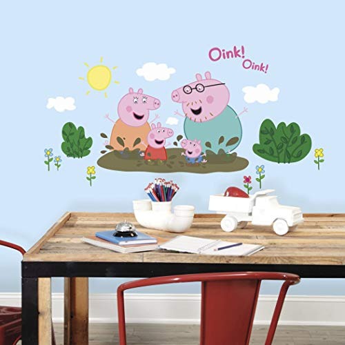 Pig Floral (Kids Pink White Green Peppa Pig Wall Decals, Cartoon Themed Wall Stickers Peel Stick, Fun Animated Mud Oink Animals Cute Sun Clouds Flowers Floral Decorative Graphic Mural Art, Vinyl)