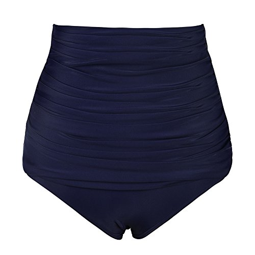 Navy Bikini Brief (Hilor Women's High Waisted Bikini Bottom Shirred Bikini Brief Swim Shorts Navy 22)