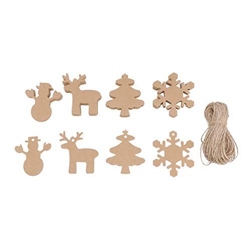 - WINOMO Christmas Kraft Paper Tags 100pcs with Rope Xmas Gift Parcel Tags Tree Snowflake Deer Snowman Scalloped