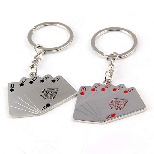 (Funny live 2 Pcs Playing Cards Keychain Poker Keychains for Men Key Ring Playing Card Key Pendant for Phones Bag Gift Decoration)