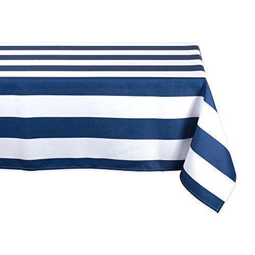 Navy Cabana Stripe - DII Nautical Blue Cabana Stripe Outdoor Tablecloth, 60x120