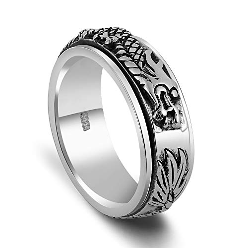 (Beydodo Dragon Rings Sterling Silver Size 9 Spinner Ring Chinese Dragon Ring Gothic Ring for Men)