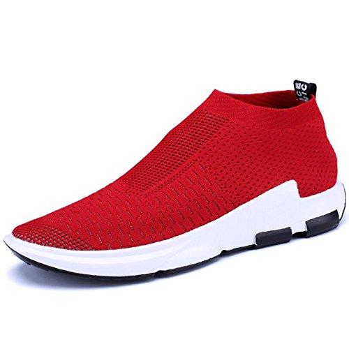 Hattie Men's Slip On Lightweight Tennis Trainers Breathable Mesh Running Walking Shoes Red RZmnR