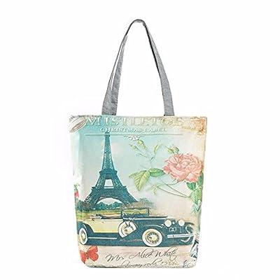 Canvas Tote,Hemlock Women Paris Tower Printing Shopping Bag Handbags
