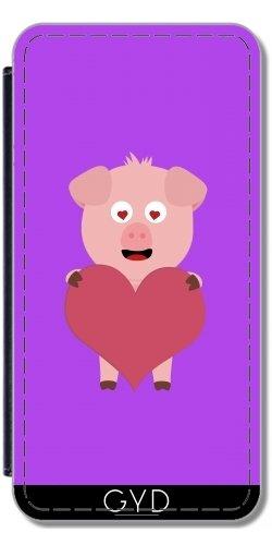 Leder Flip Case Tasche Hülle für Apple Iphone 7 Plus / 8 Plus - Schwein Mit Großem Herzen Für by ilovecotton