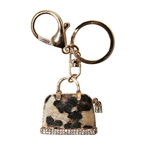 (DIYJewelryDepot Leopard Print Cute Bag Rhinestones Key Chain for Bags & Purses)