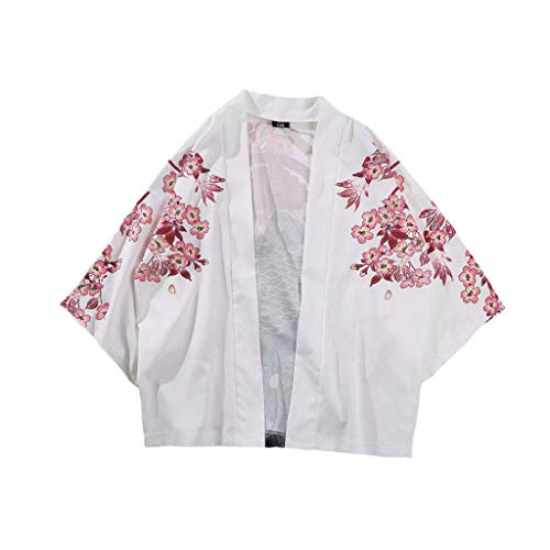 Spring Color  1/2 Sleeve Printed Kimono Cardigan Loose Cover Up Casual Blouse Tops Kimono for Womens & Men White