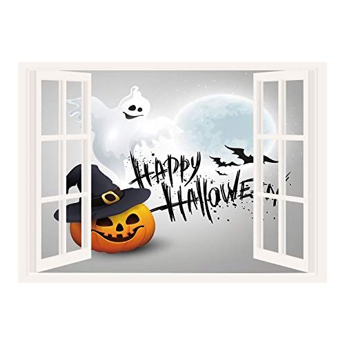 SCOCICI Creative Window View Home Decor/Wall Décor-Halloween,Happy Celebration Typography Stained Look Cute Ghost Pumpkin Hat Print Decorative,White Black Orange/Wall Sticker Mural -