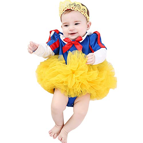 Mukola Newborn Baby Onesie Tutu Skirt Crown Snow White Costume Dress for Photography ()
