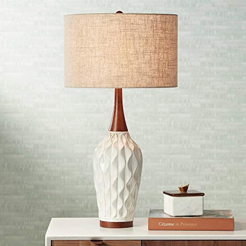 Rocco Mid Century Modern Table Lamp White Geometric Ceramic Wood Tan Fabric Drum Shade for Living Room Family Bedroom - 360 Lighting