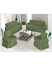 Elastic Turkish Sofa Cover Set - Olive Green