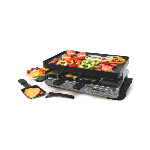 Swissmar KF-77070 Eiger 8-Person Raclette Party Grill with Reversible Cast Aluminum Non-Stick Grill Plate/Crepe Top