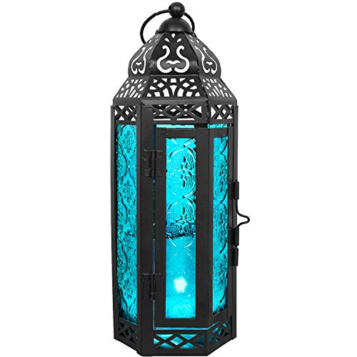 LIVEDITOR LIGHTING Gifts & Décor Glass Metal Moroccan Candle Holder Hanging Lantern for Patio Indoors/Outdoors Parties and Weddings Décor Lights (Blue)